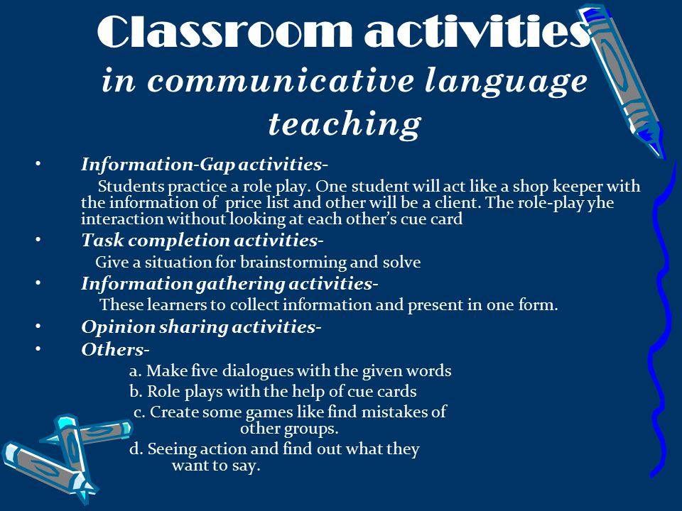 Classroom activities in communicative language teaching