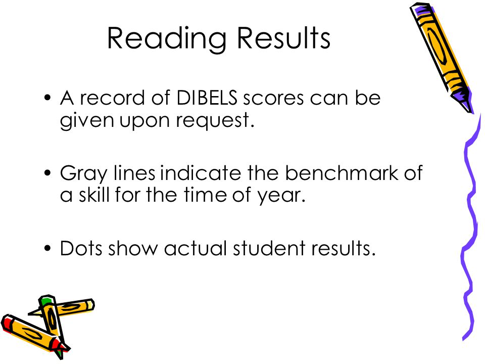 Reading Results A record of DIBELS scores can be given upon request.