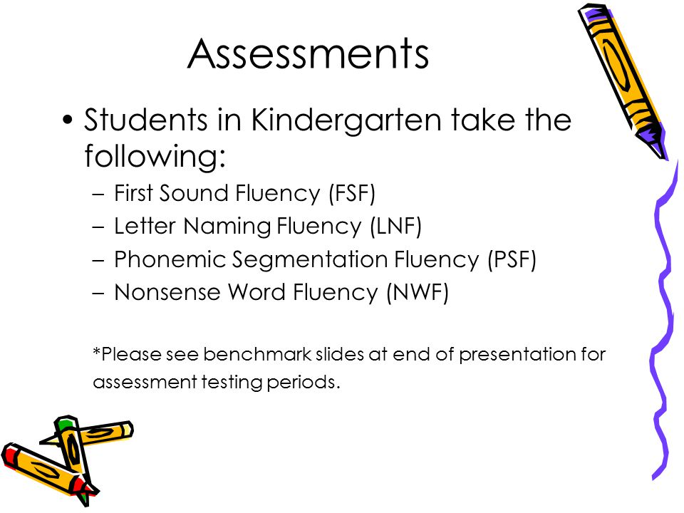 Assessments Students in Kindergarten take the following: