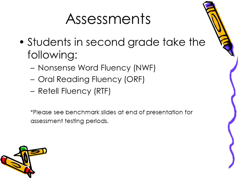 Assessments Students in second grade take the following: