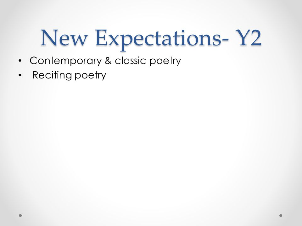 New Expectations- Y2 Contemporary & classic poetry Reciting poetry