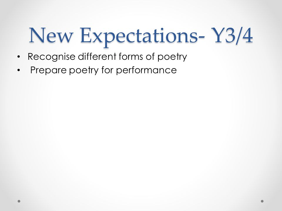 New Expectations- Y3/4 Recognise different forms of poetry