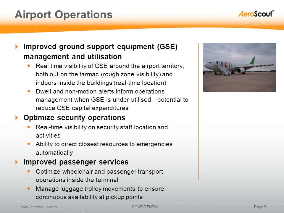 Airport Operations Improved ground support equipment (GSE) management and utilisation.