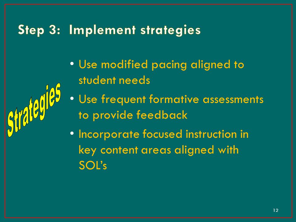Step 3: Implement strategies