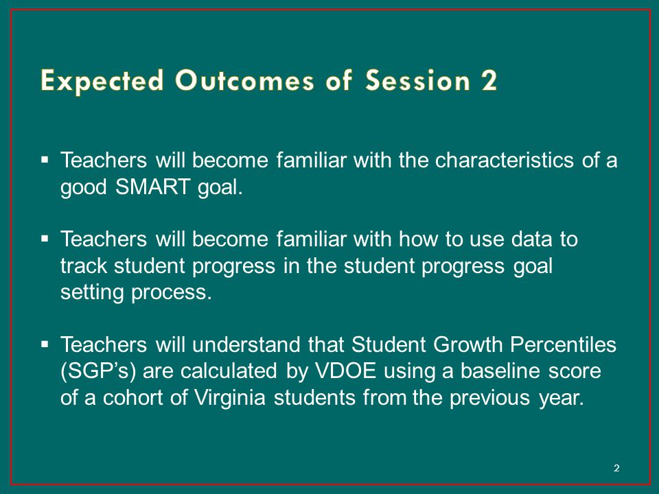 Expected Outcomes of Session 2