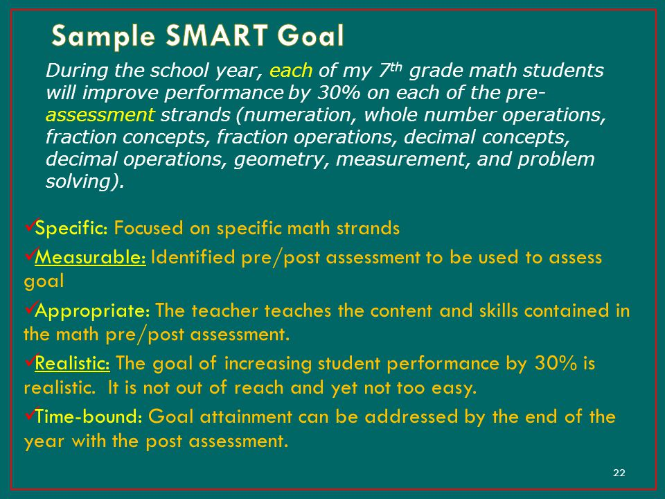 Sample SMART Goal Specific: Focused on specific math strands