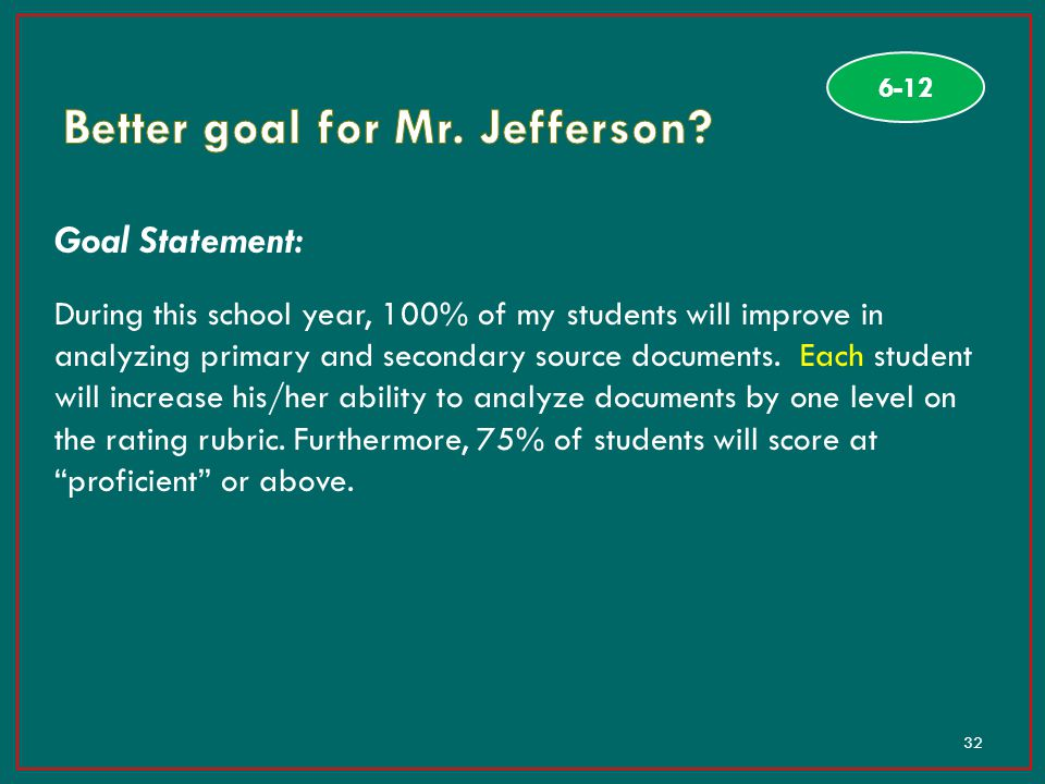 Better goal for Mr. Jefferson