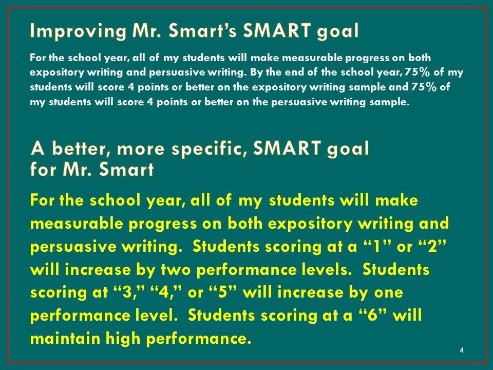 Improving Mr. Smart's SMART goal