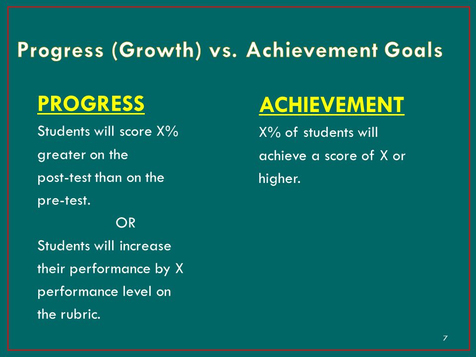 Progress (Growth) vs. Achievement Goals
