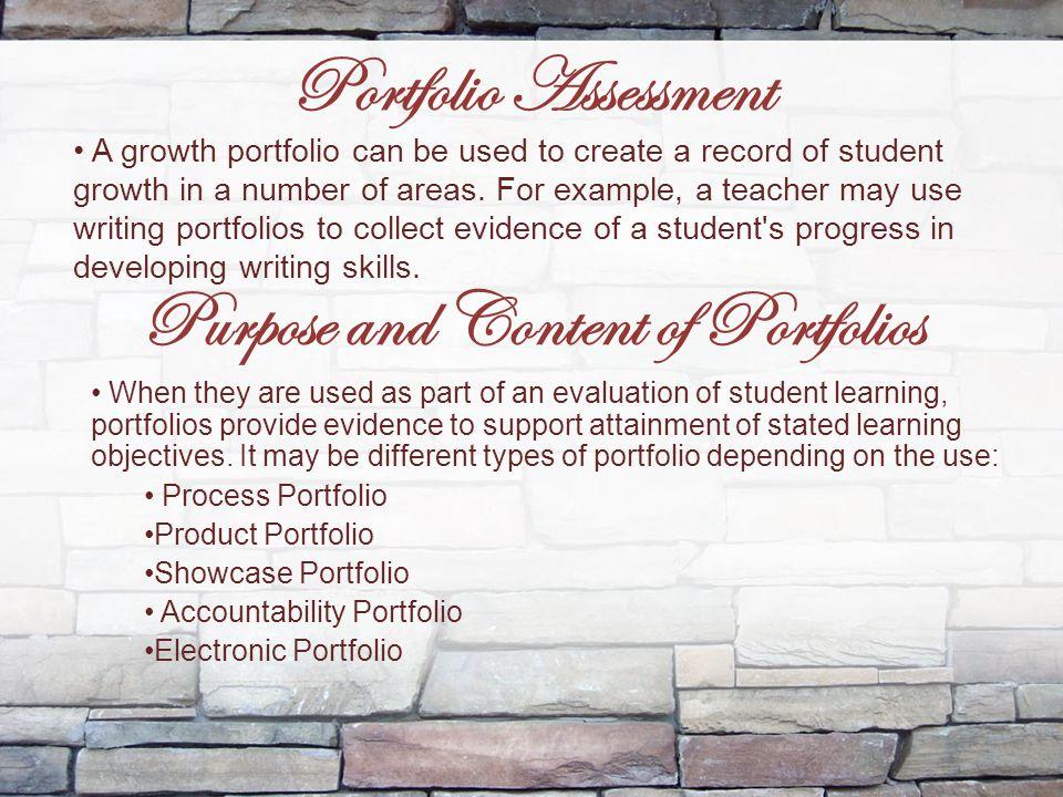 Purpose and Content of Portfolios