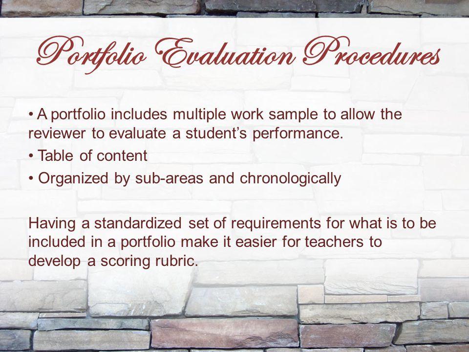 Portfolio Evaluation Procedures