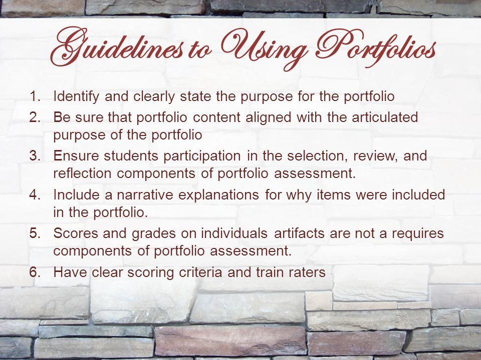 Guidelines to Using Portfolios