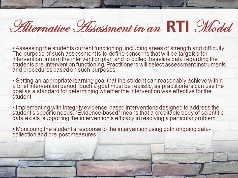 Alternative Assessment in an RTI Model