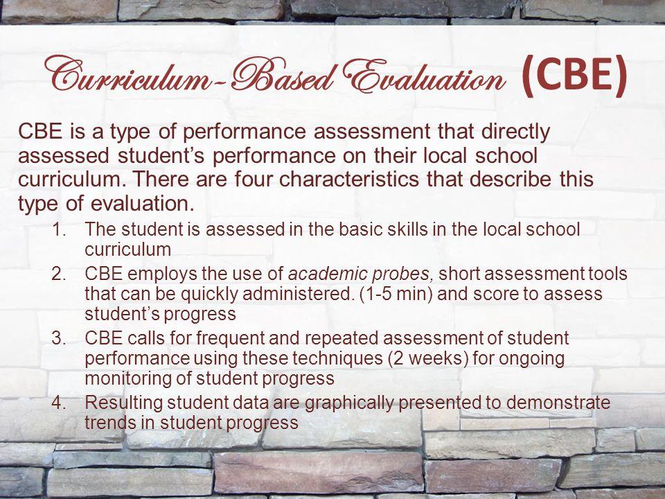 Curriculum-Based Evaluation (CBE)