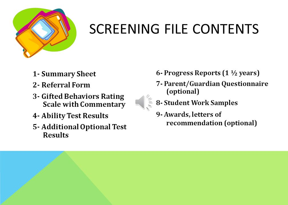 Screening File contents