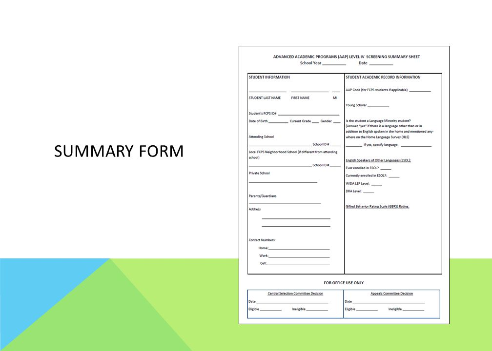 Summary form