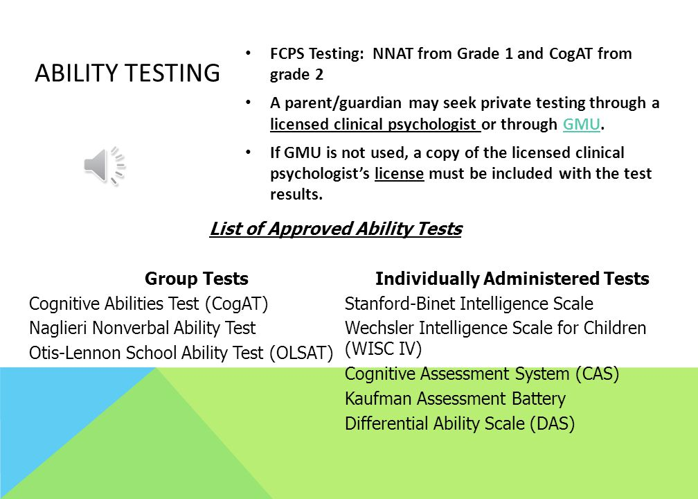 List of Approved Ability Tests Individually Administered Tests