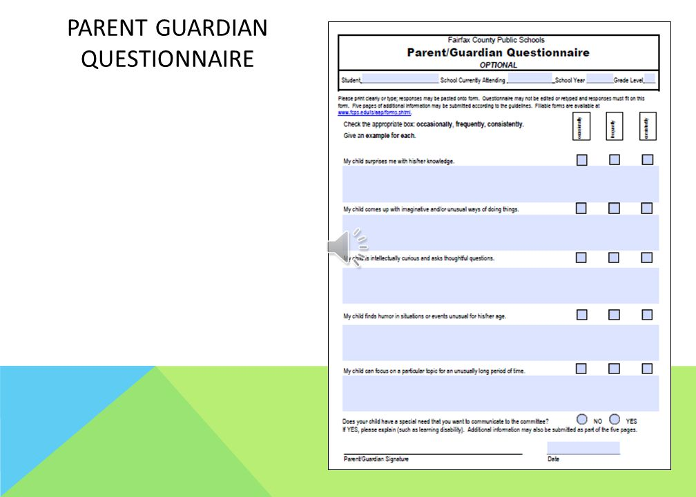Parent guardian questionnaire