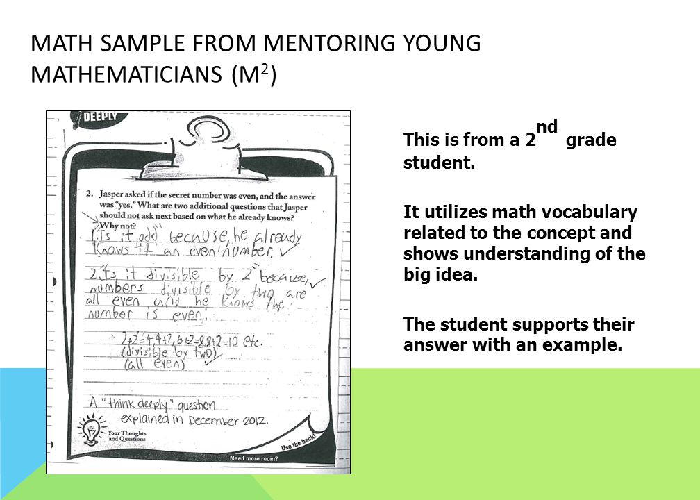 Math Sample from Mentoring Young Mathematicians (M2)