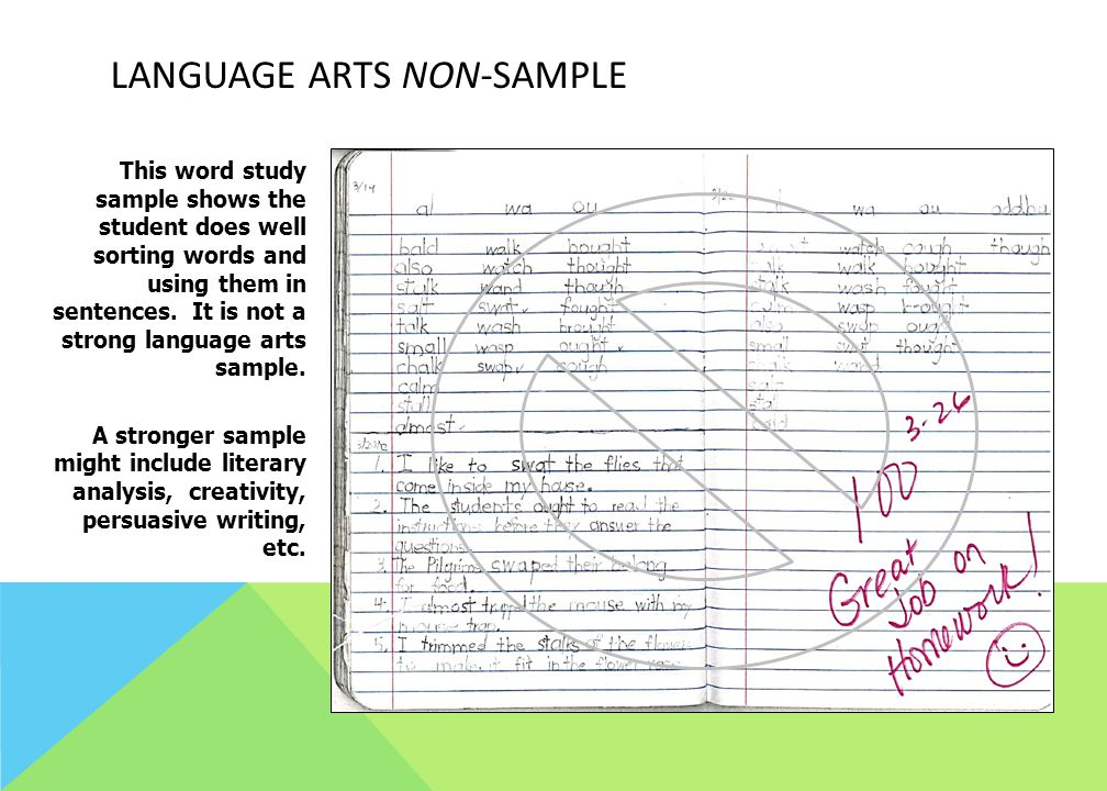 Language Arts Non-Sample