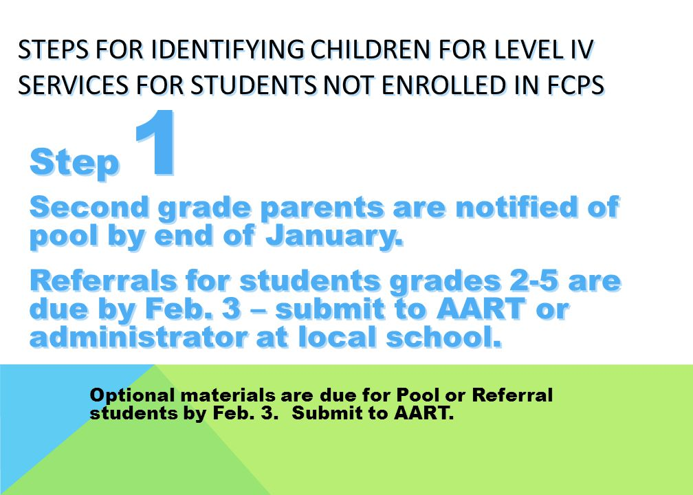 Step 1 Second grade parents are notified of pool by end of January.