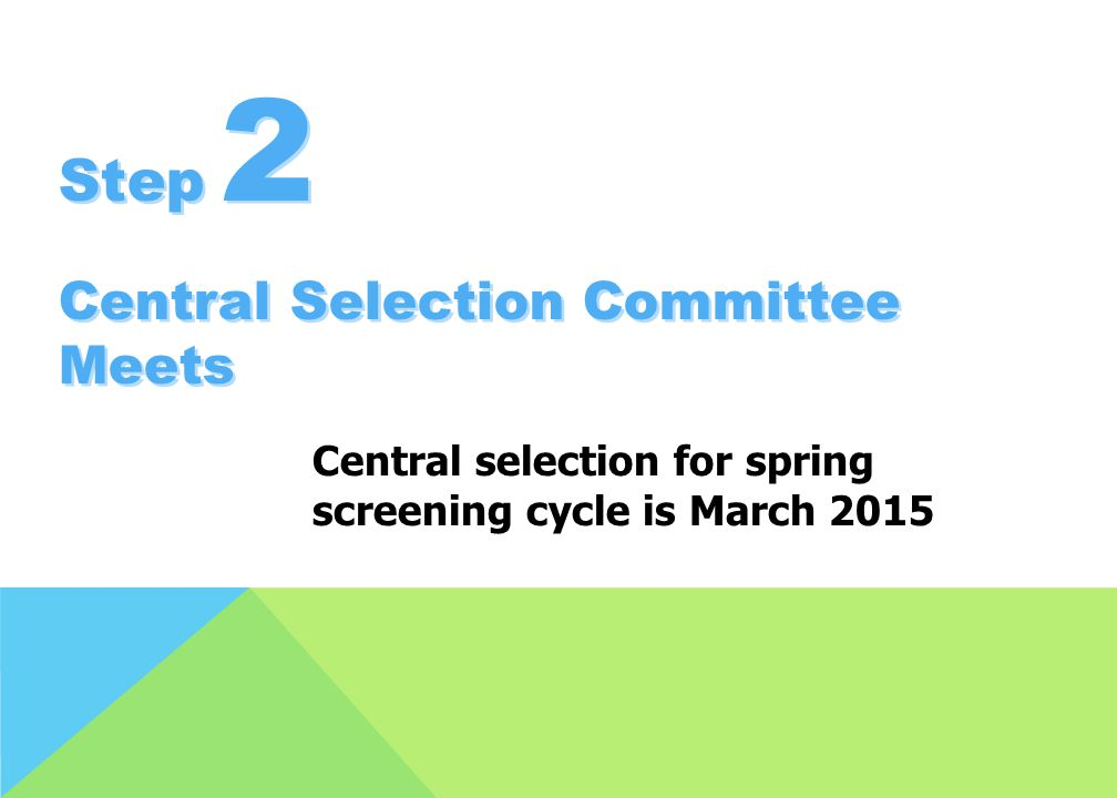 Step 2 Central Selection Committee Meets