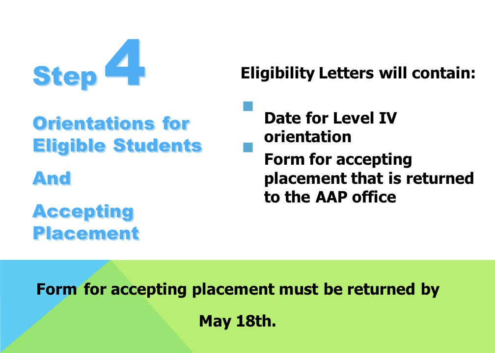 Form for accepting placement must be returned by May 18th.