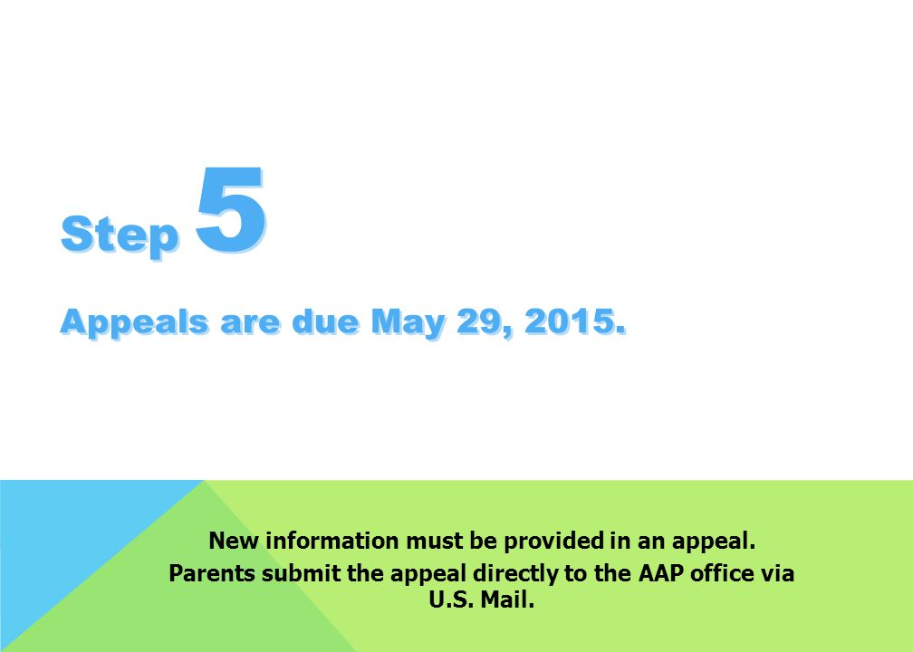 Step 5 Appeals are due May 29, 2015.
