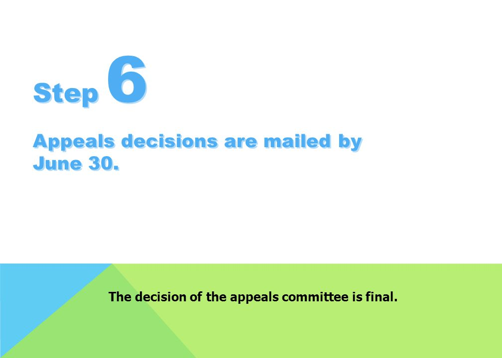 The decision of the appeals committee is final.