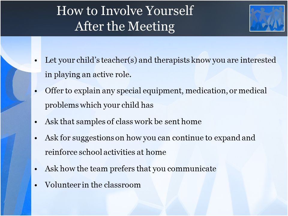 How to Involve Yourself After the Meeting