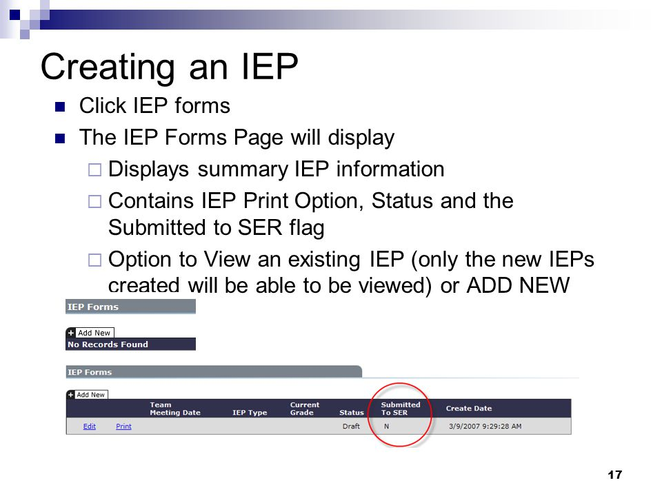 Creating an IEP Click IEP forms The IEP Forms Page will display