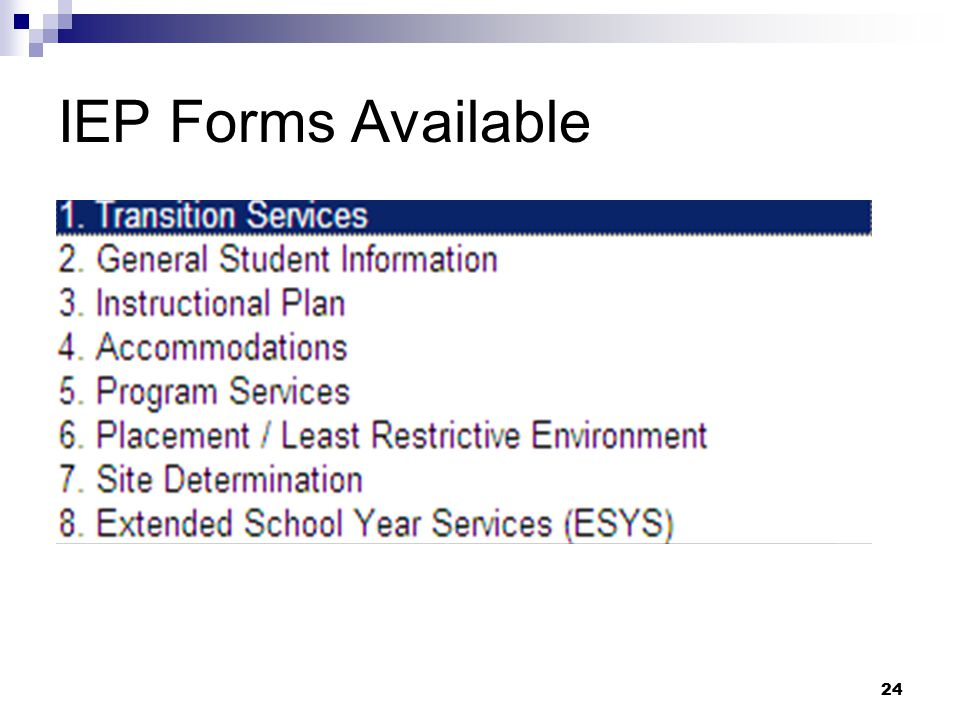 IEP Forms Available