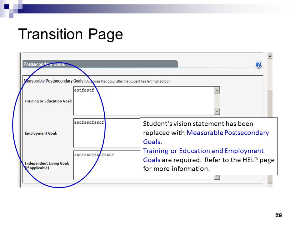 Transition Page Student's vision statement has been replaced with Measurable Postsecondary Goals.