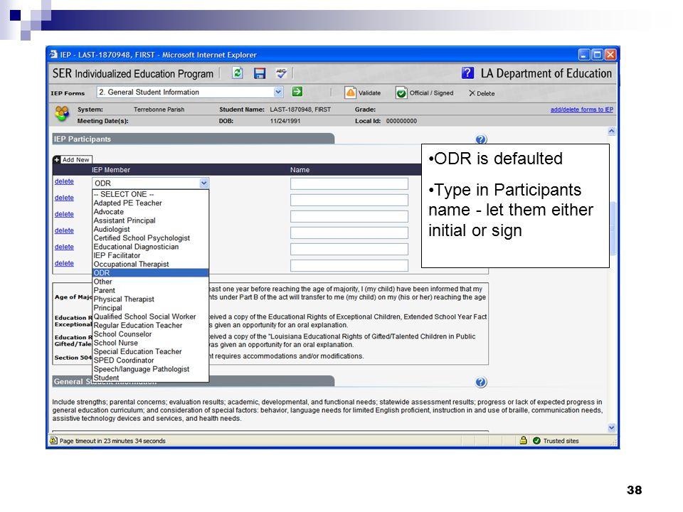 ODR is defaulted Type in Participants name - let them either initial or sign