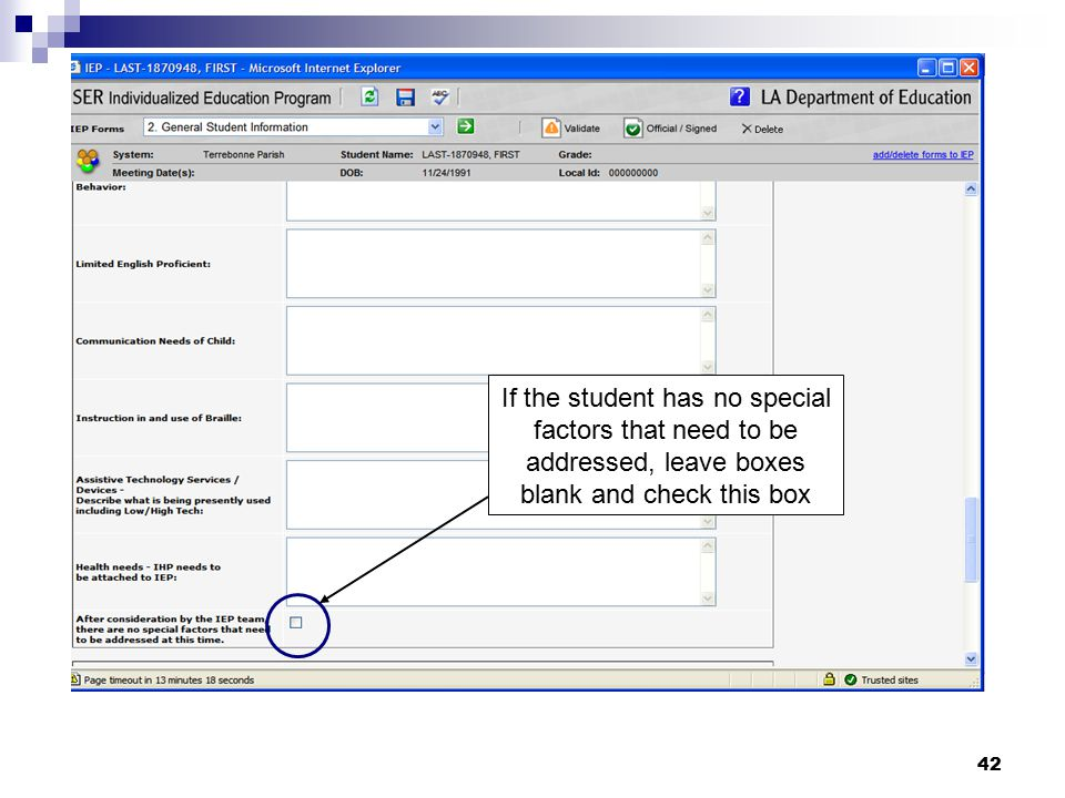 If the student has no special factors that need to be addressed, leave boxes blank and check this box