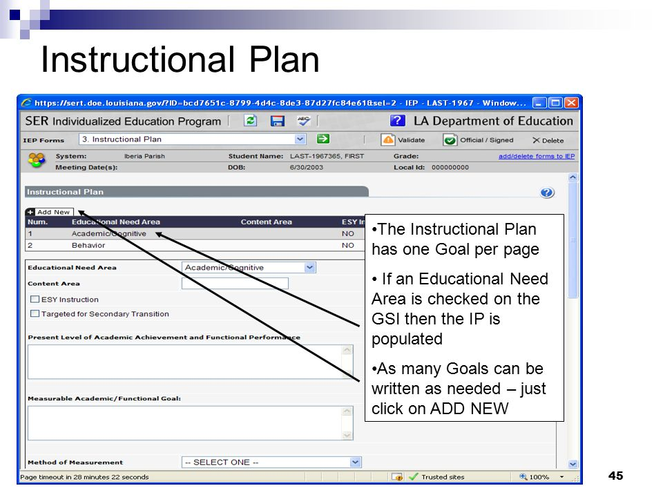Instructional Plan The Instructional Plan has one Goal per page
