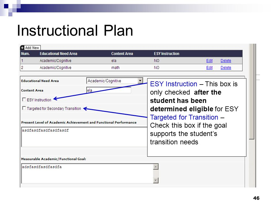 Instructional Plan ESY Instruction – This box is only checked after the student has been determined eligible for ESY.