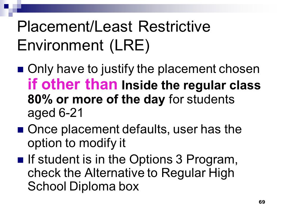 Placement/Least Restrictive Environment (LRE)