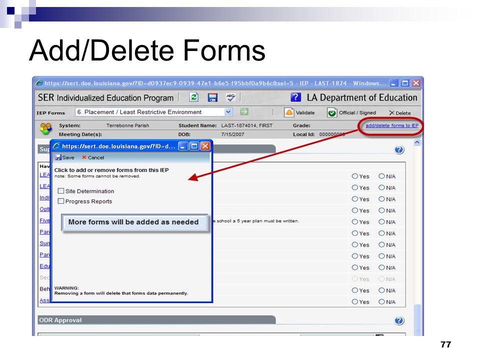 Add/Delete Forms