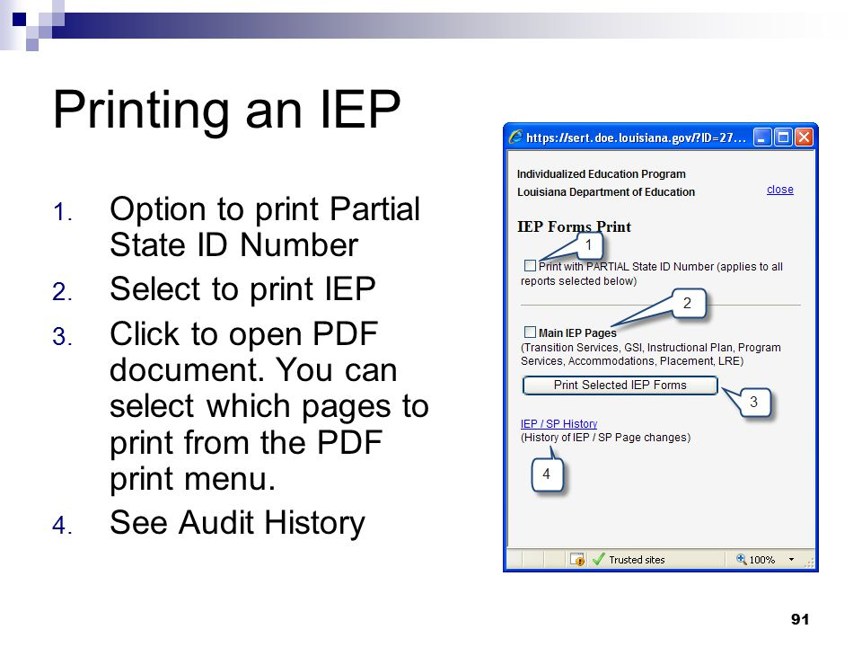 Printing an IEP Option to print Partial State ID Number