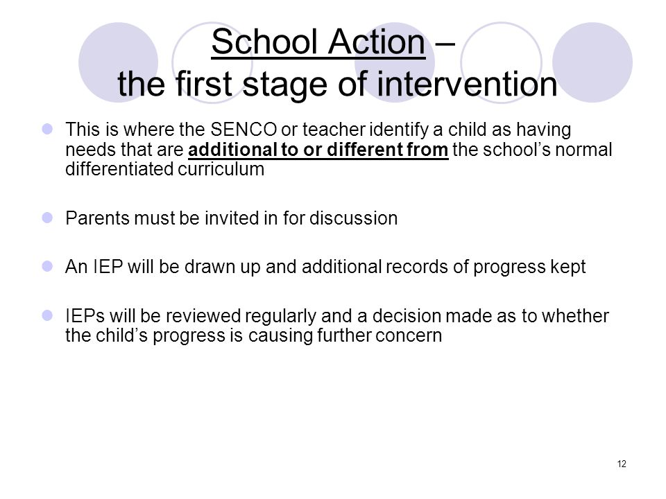 School Action – the first stage of intervention