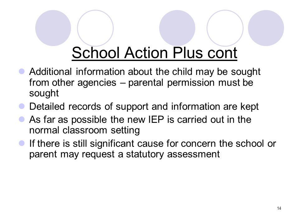 School Action Plus cont