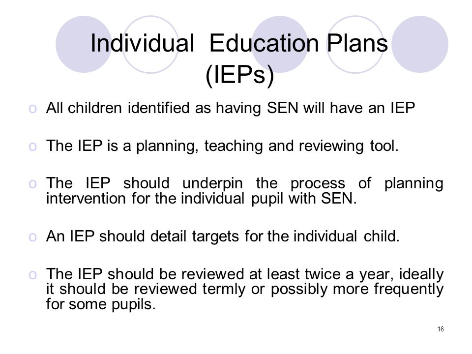 Individual Education Plans (IEPs)