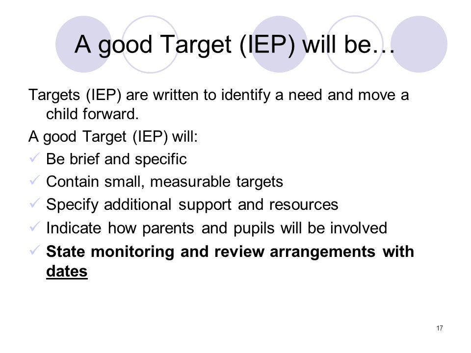 A good Target (IEP) will be…