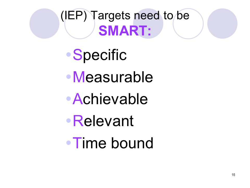(IEP) Targets need to be SMART: