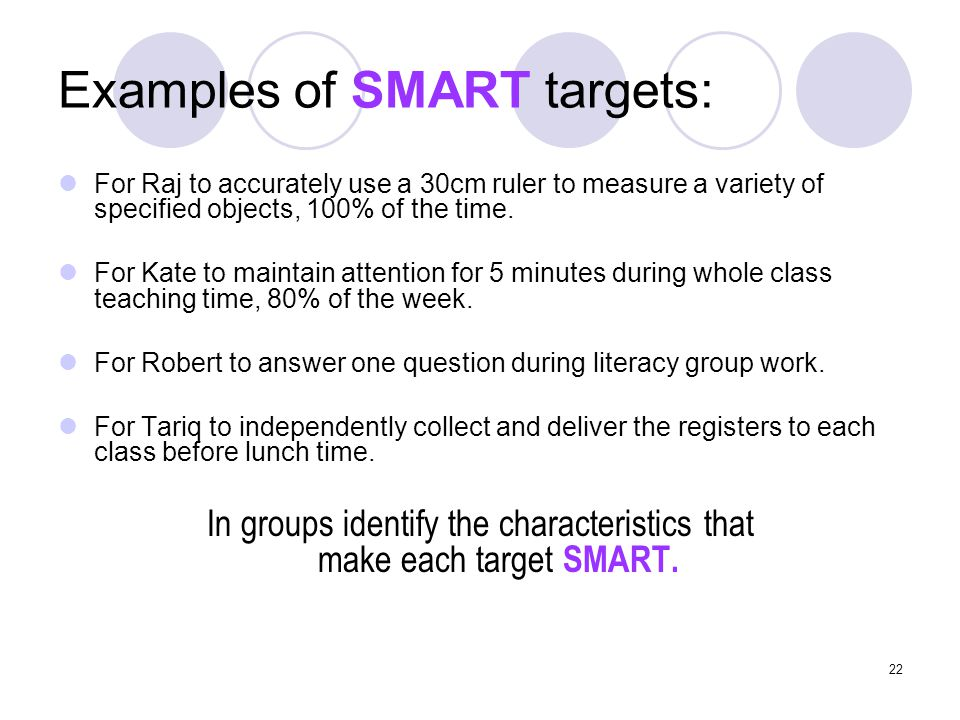 Examples of SMART targets: