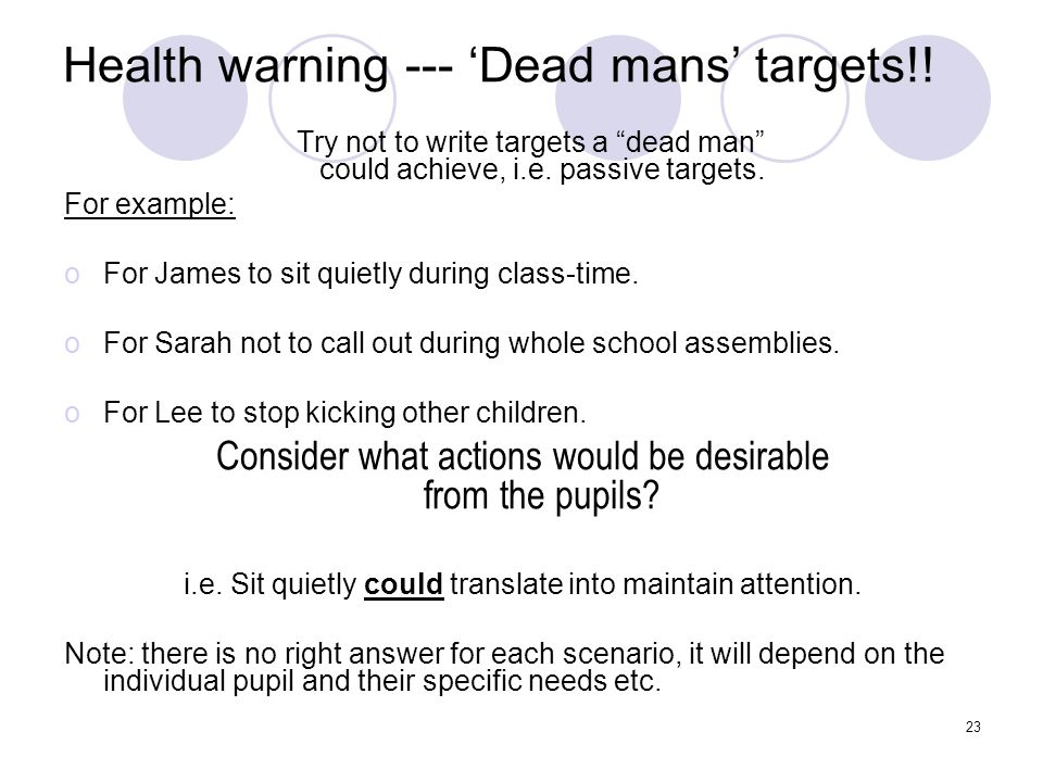 Health warning --- 'Dead mans' targets!!