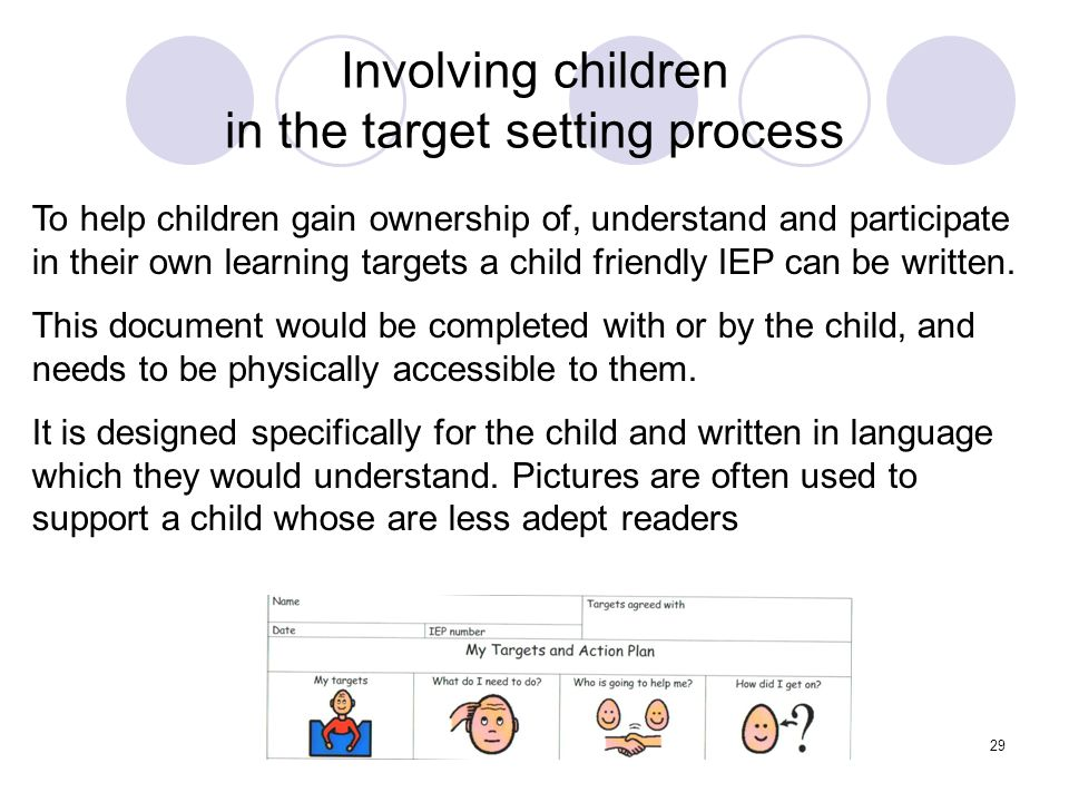 Involving children in the target setting process