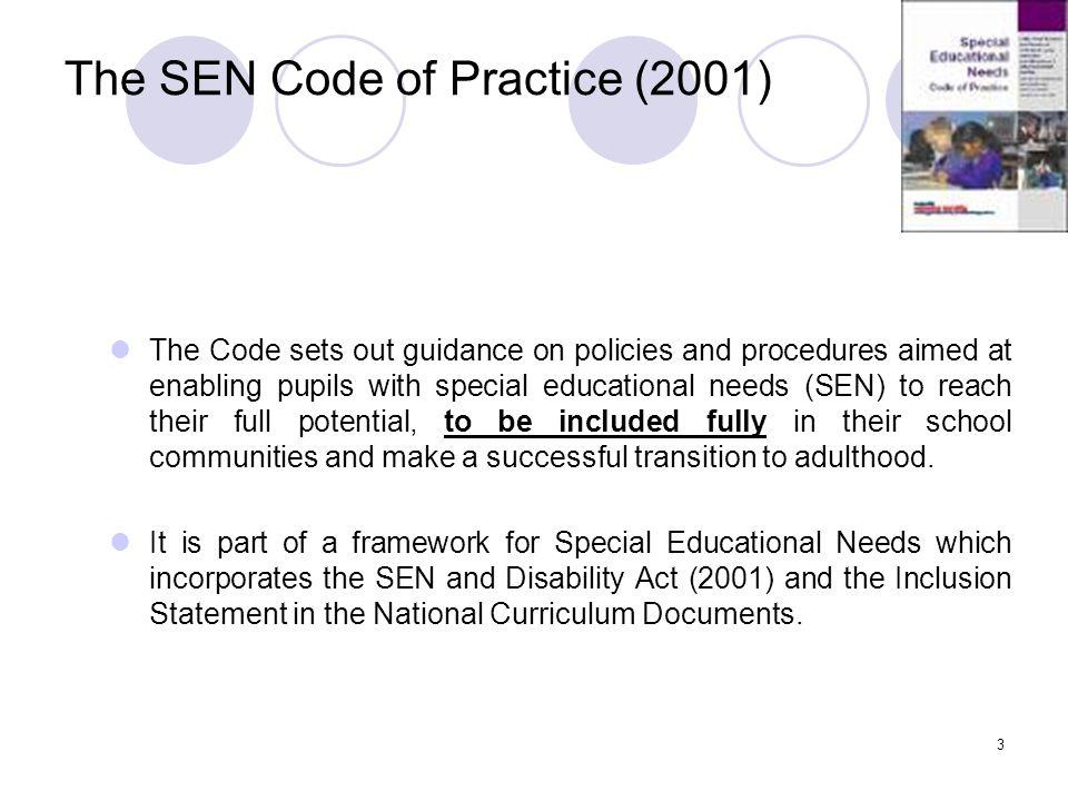 The SEN Code of Practice (2001)