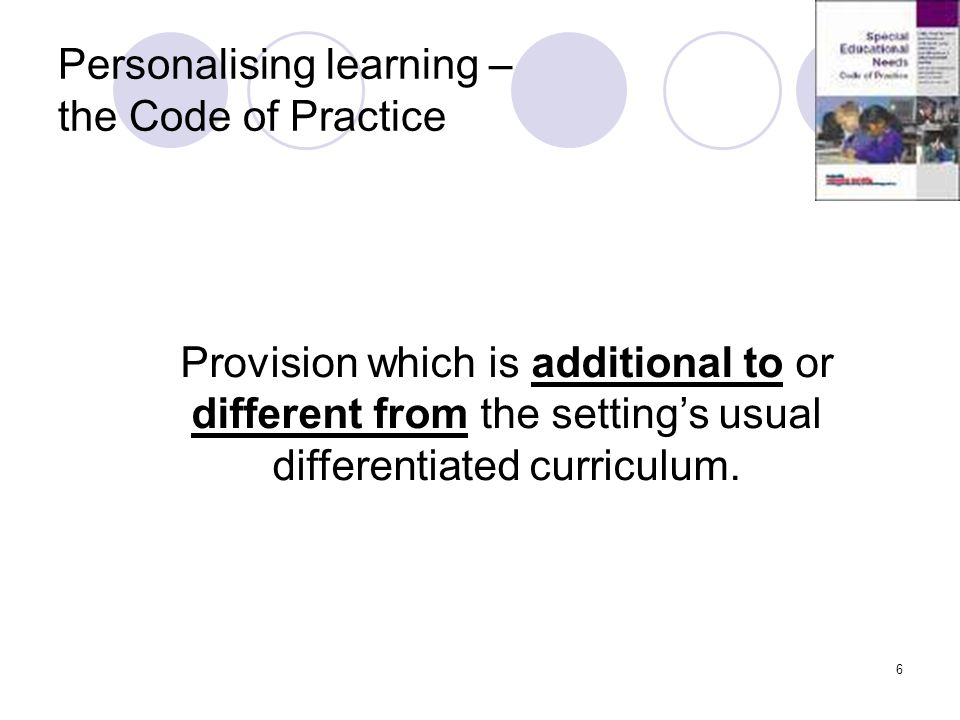 Personalising learning – the Code of Practice